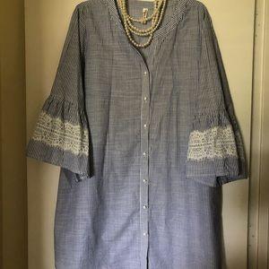 Striped dress shirt dress